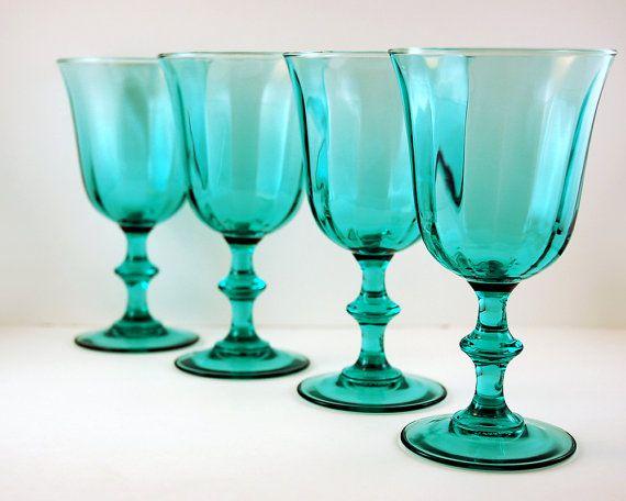 vintage teal wine glasses or water goblets 6 by