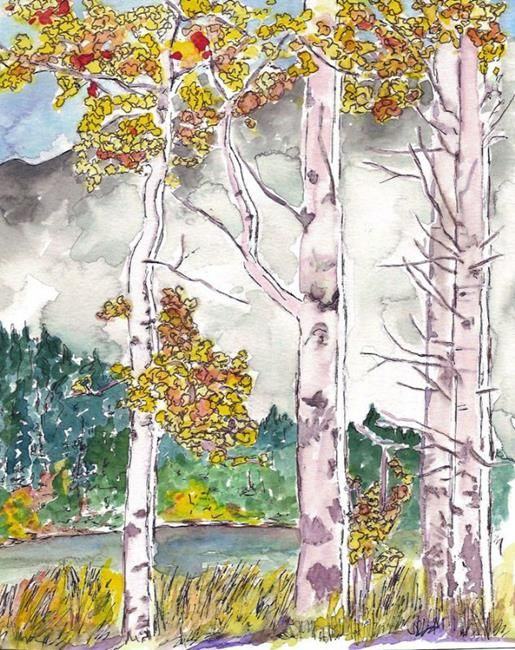 Art of the Day Wednesday September 09, 2015.  This week's theme is Watermedia.  Today's piece is Fall on the Deschutes - by Deborah Sprague #EBSQ
