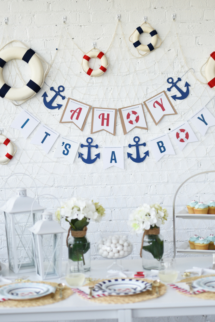 This nautical themed baby shower is sure to