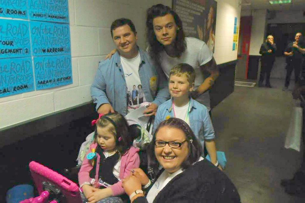 Georgia Edwards with mum Katie, dad Gavin, brother Charlie and One Direction's Harry Styles