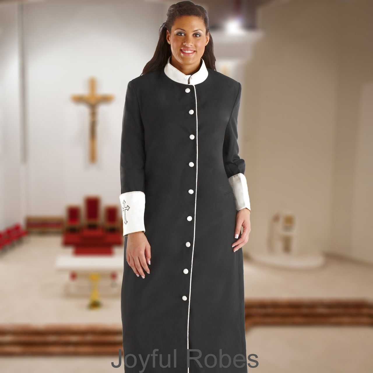 305 W. Women\'s Clergy/Pastor Robe - Black/White Cuff | Pastor ...