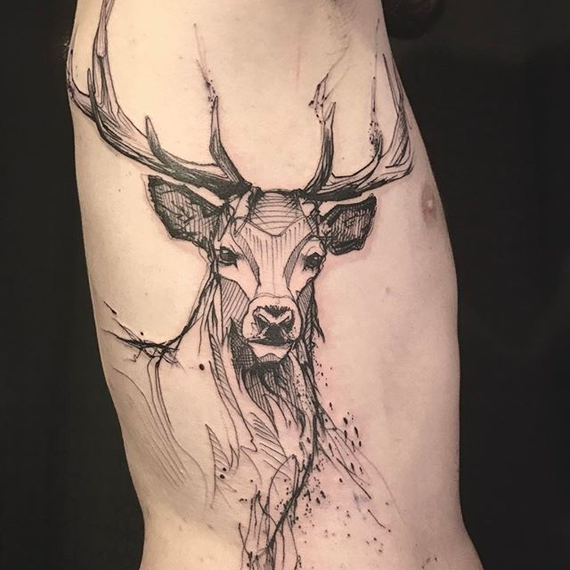Deer Cerf Deertattoo Ribtattoo Blacktattoo Sketch
