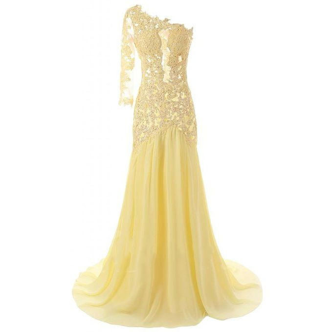 Click to Buy << Yellow Prom Dresses Long 2017 One Shoulder Lace ...