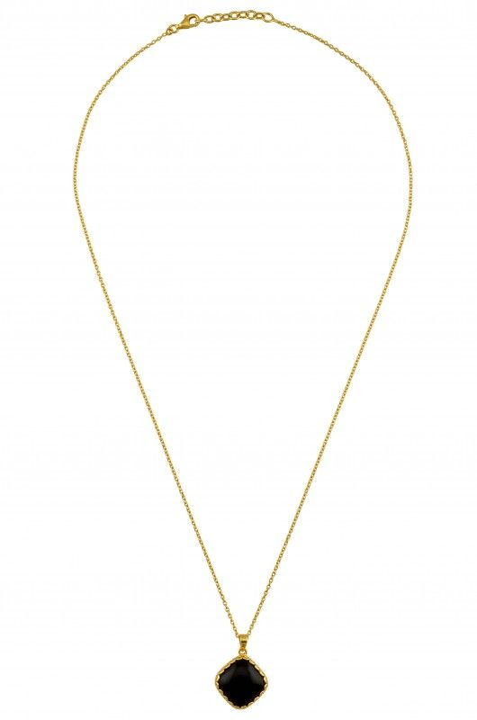 Silver Gold Plated Black Onyx Rhomb Necklace