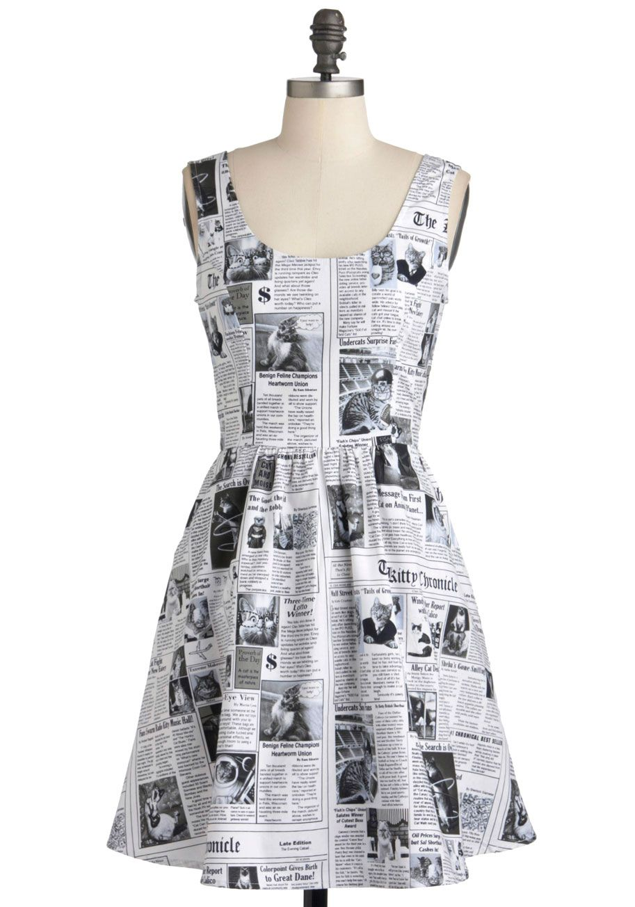 Newspaper Dress With Kitties, Oh Why Don't You Carry My