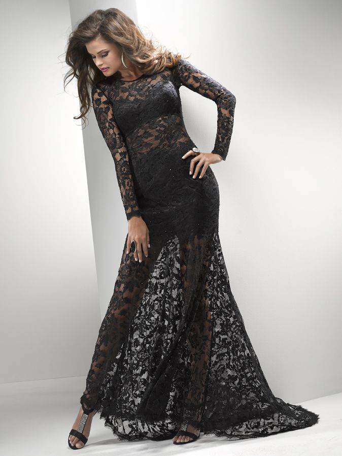Black Illusion Lace Long Sleeve Prom Dress - Unique Vintage ...