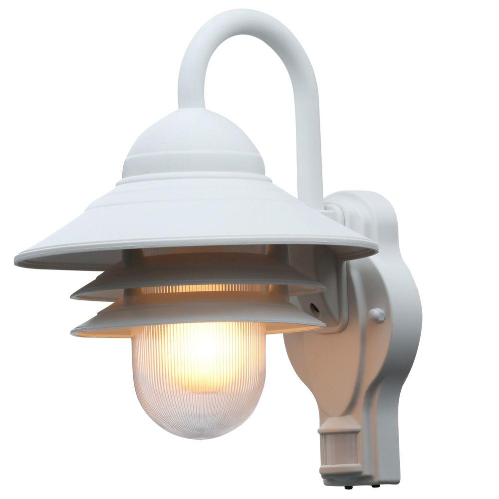 Newport Coastal Marina 110 Degree Outdoor White Motion Sensing Wall Lantern Sconce 7972 11w The Home Depot Sensor Lights Outdoor Motion Sensor Lights Outdoor Motion Sensor Lights
