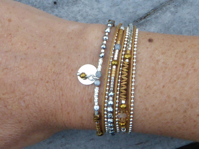 bracelet argent massif multirang