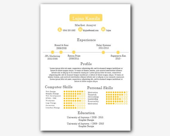 Yellow Timeline Modern Microsoft Word Printable Resume by INKPOWER, $12.00