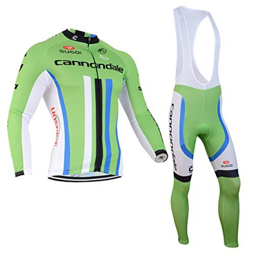 Mens Pro Cycling Team Winter Thermal Fleece Bicycling Jerseys and Cycling Bib Pants Kit Green L -- Continue to the product at the image link.