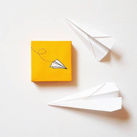 Yellow Paper Airplane Art, Little Paper Airplane, Paper Plane Painting, Tiny Painting, Mini Art, Miniature Artwork, Aviation, Minimalist Art