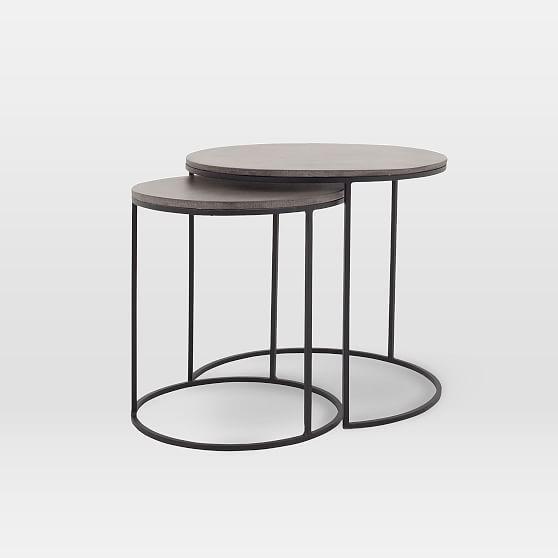 Lavastone Round Nesting Side Tables Set Of 2 Concrete