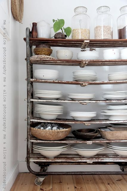 Awesome White Dish Collection On Antique Rolling Cart Simple And Elegant Great Ideas