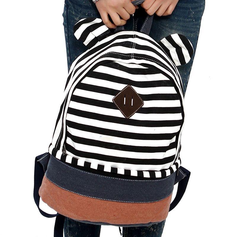 backpack school Backpacks female stripe backpack women preppy style travel bag school bags color block decoration canvas bag $15.85