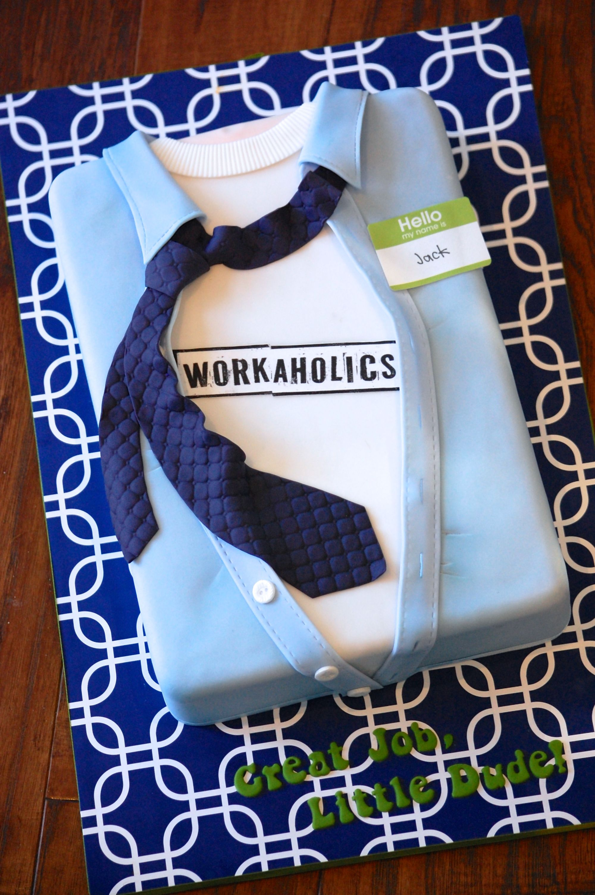 Shirt And Tie Cake For A Young Man Celebrating Guest Starring Appearance On Workaholics