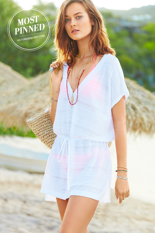 85deb16e7bea A drawstring waist and flattering v-neck make this cover-up a sunny-day  favorite.   Tie-Waist Cover-Up