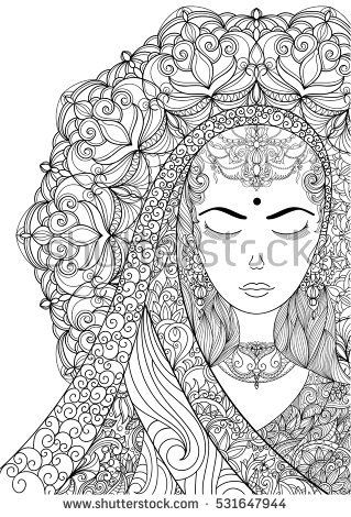 Hand Drawn Indian Woman Patterned With Ornate Mandala Shaped Halo Illustration Design For Adult Coloring Page T Shirt Tattoo Card