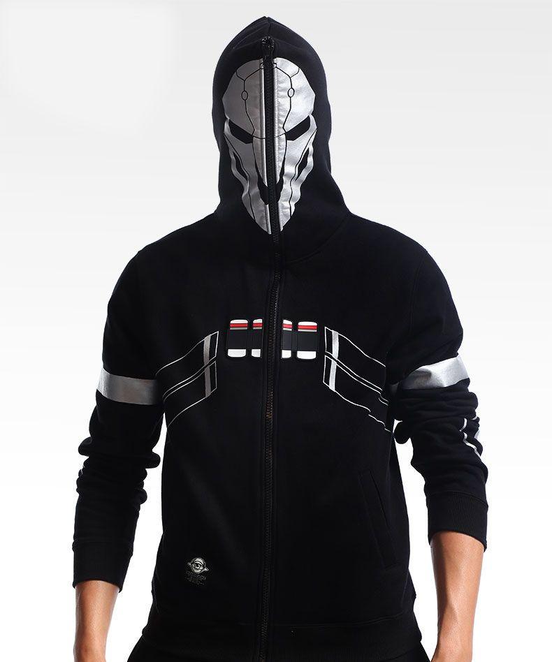 751b1f441 Overwatch Reaper Genji Hoodie Jacket Zipper Coat Cosplay Mens ...
