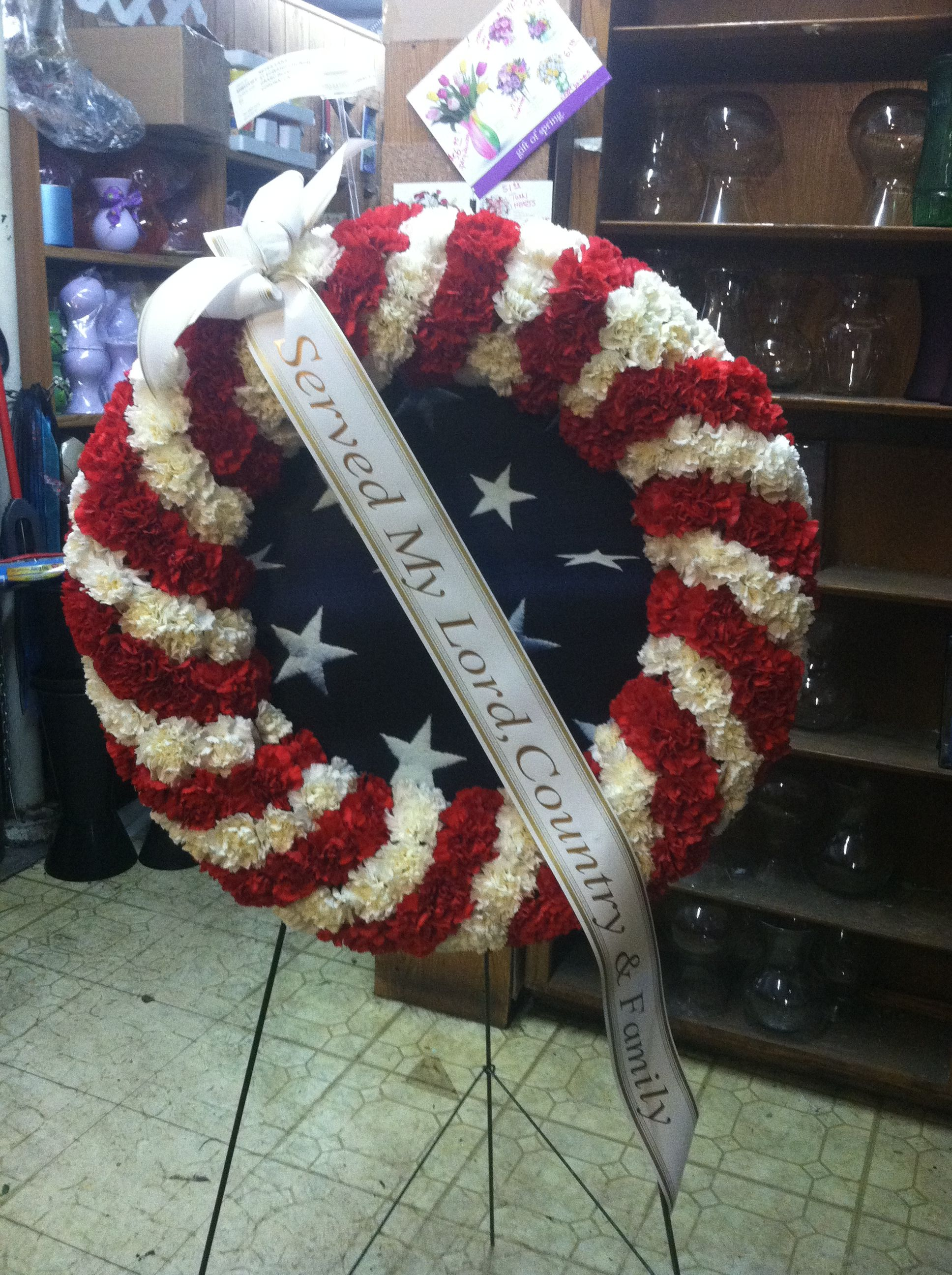 American Flag Flower Spray | Sympathy Flower Delivery |Military Funeral Flag Flowers