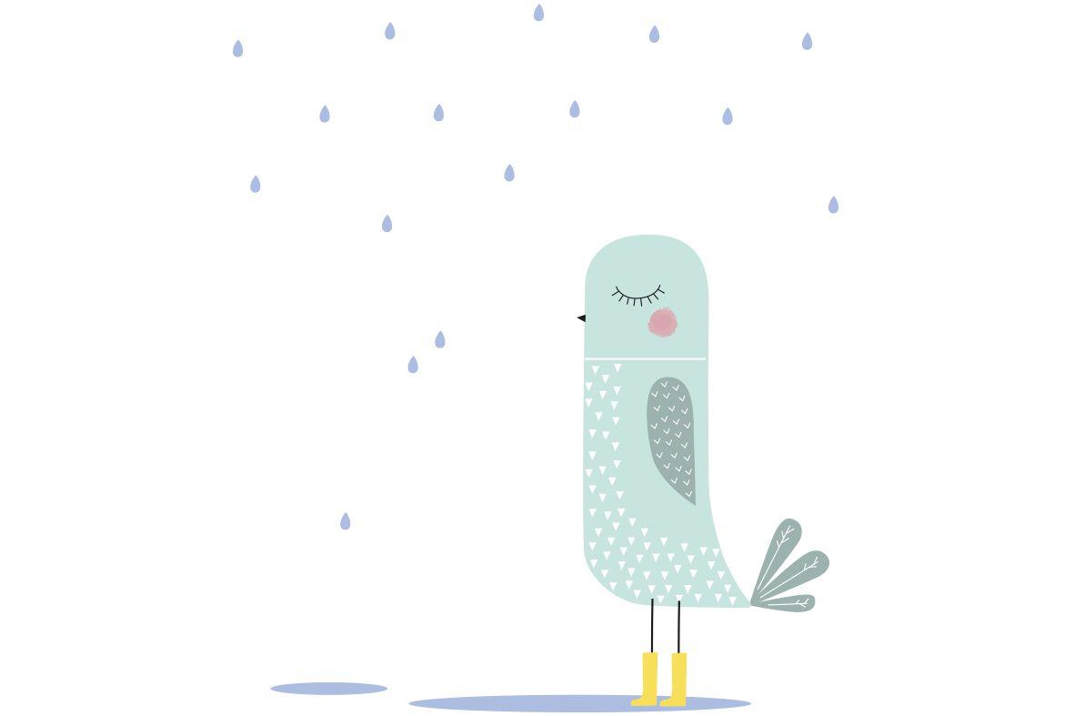 Bird Sticker Pájaro jugando en los charcos