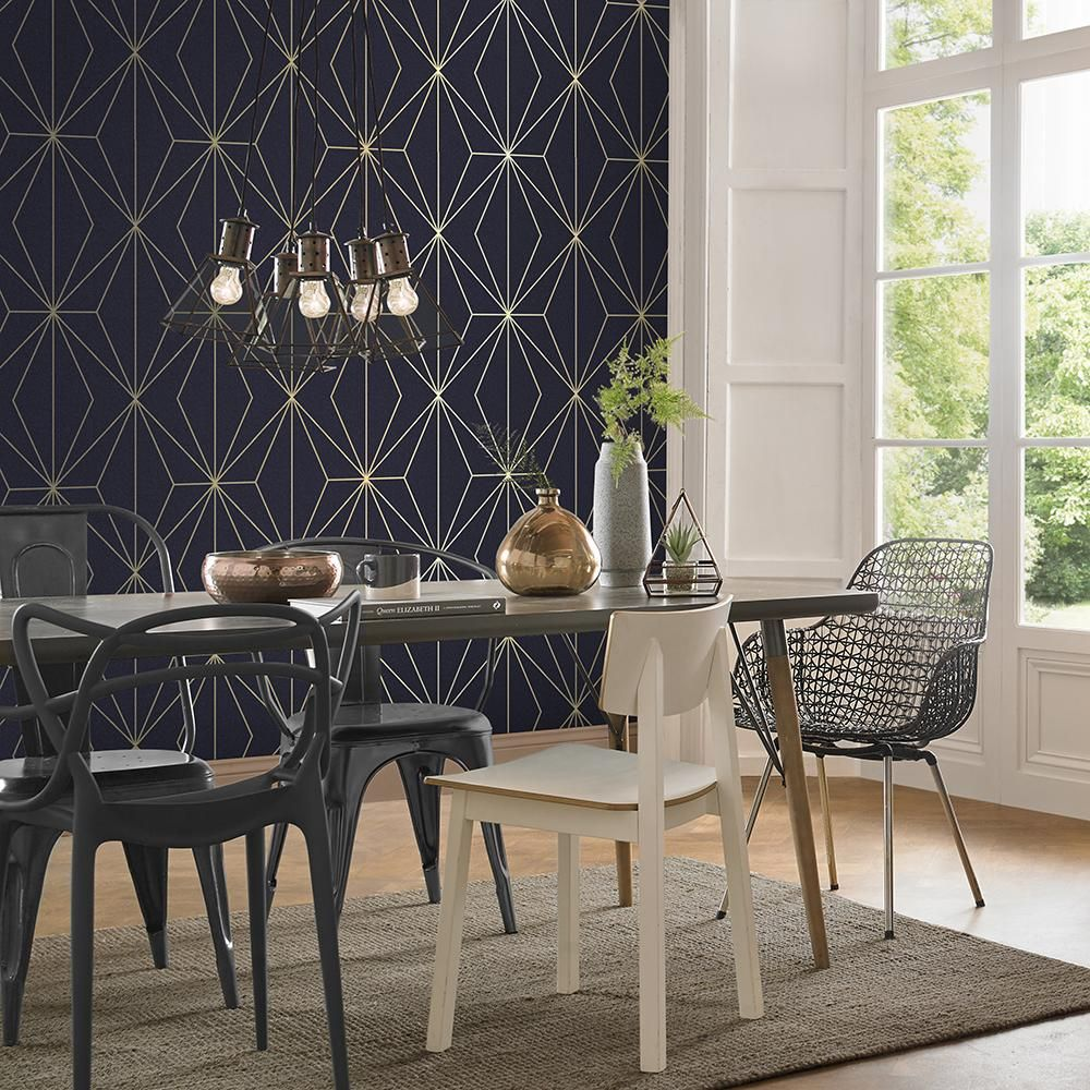 Harmony Wallpaper In Navy From The Exclusives Collection By Gr
