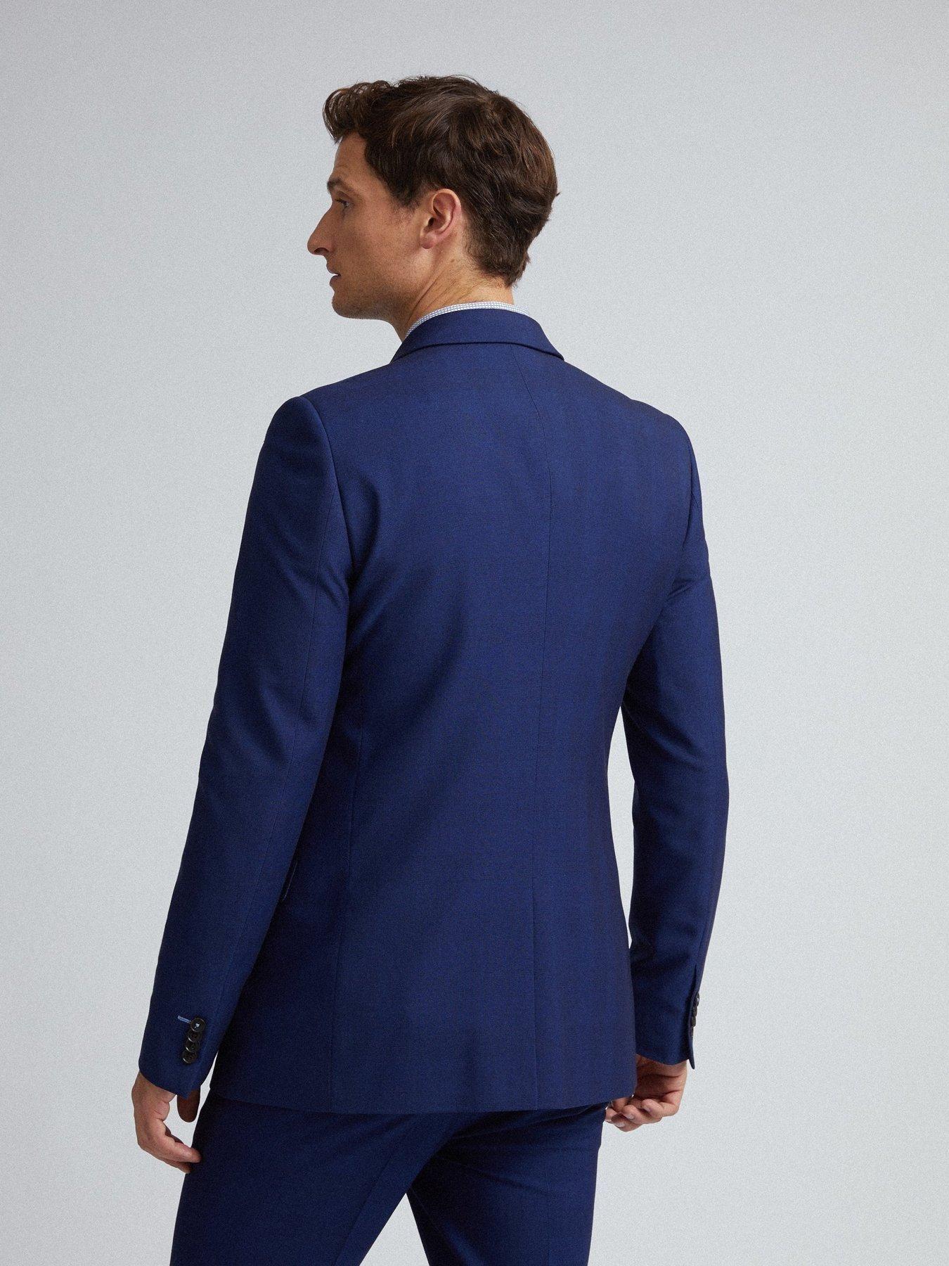Burton menswear london skinny fit suit jacket navy blue