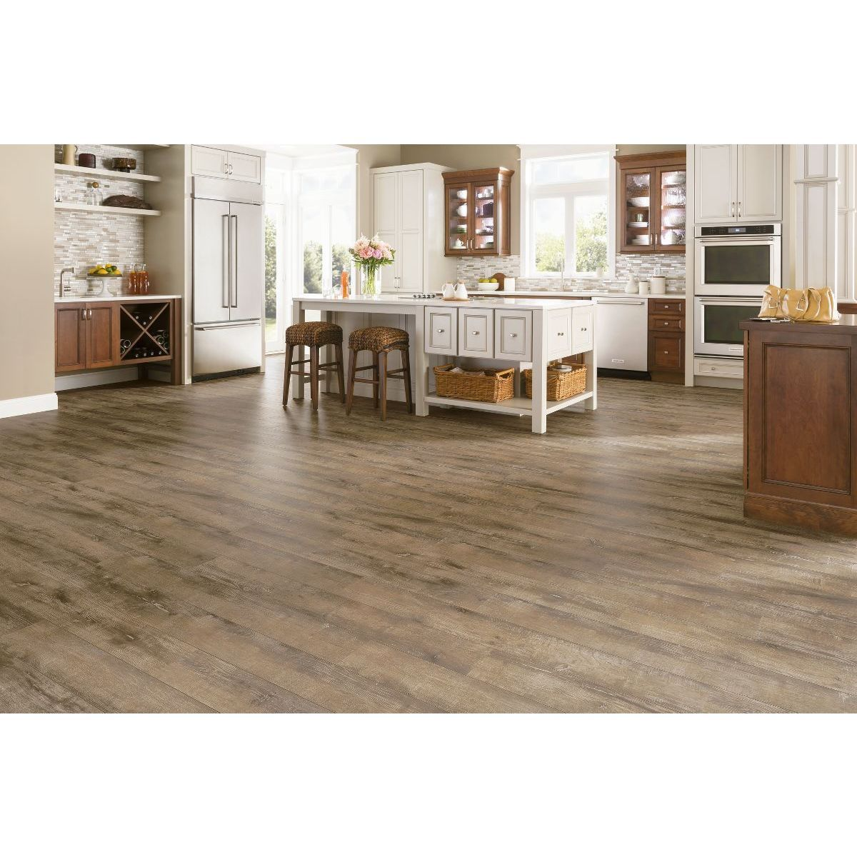 Armstrong Rustics Premium Laminate 15 11 Square Foot Flooring Pack Etched Light Brown