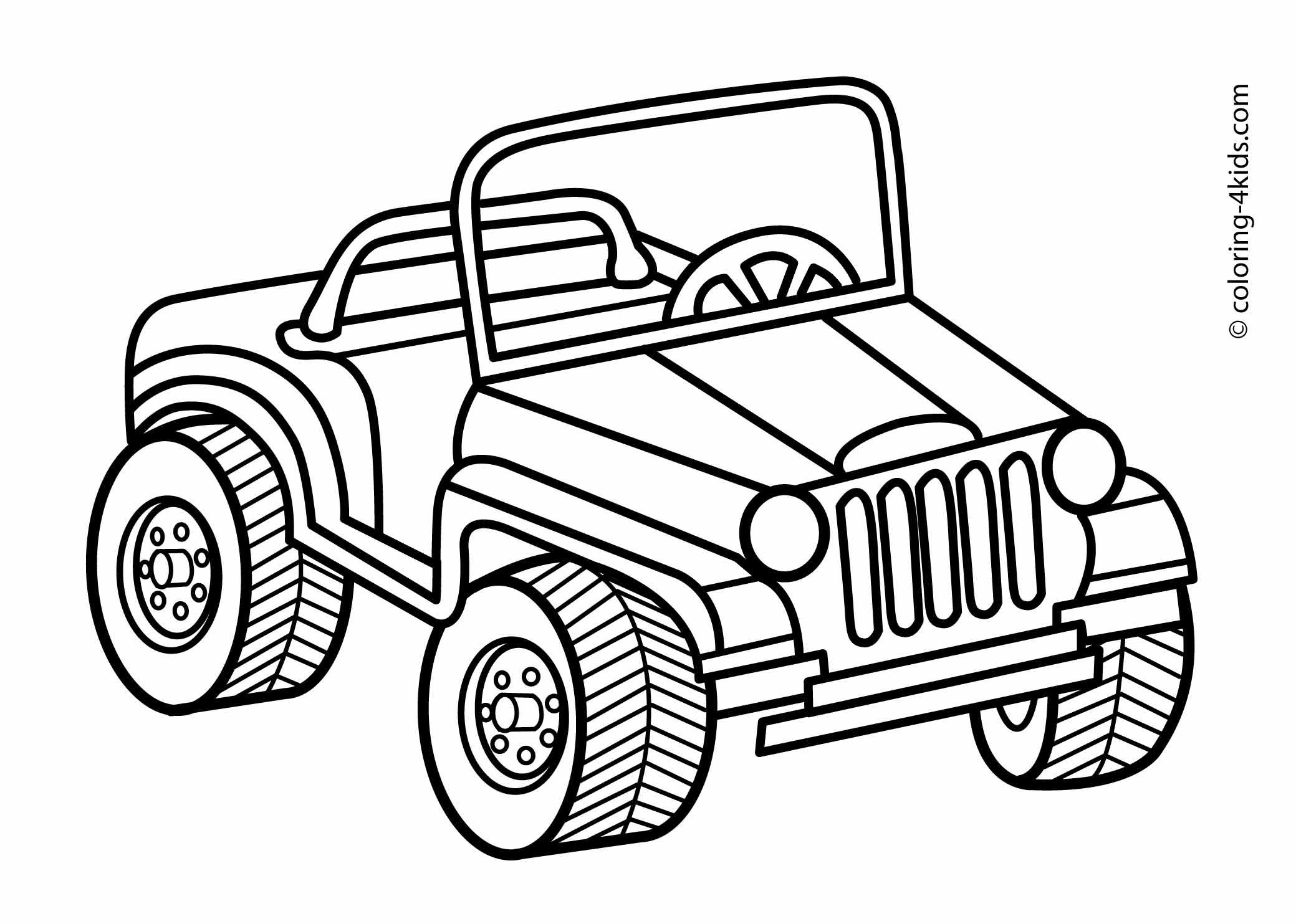 Jeep transportation coloring pages for kids, printable  Cars