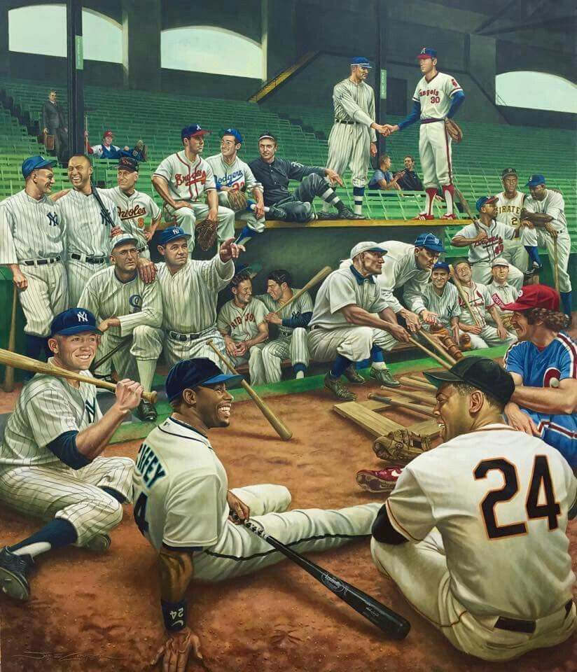 Legends Baseball Players Painting