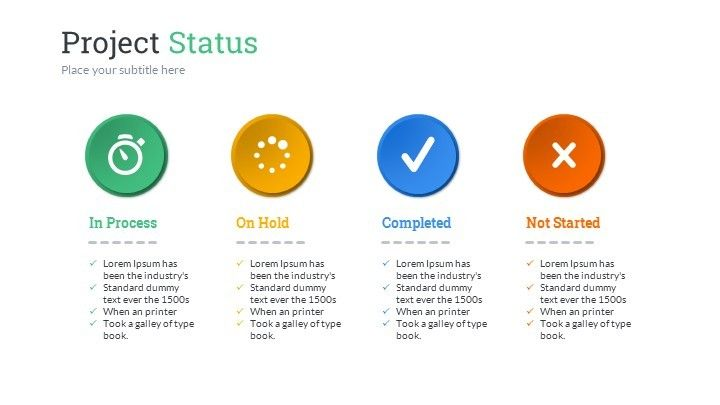 project status powerpoint presentation template composition of 12