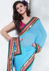 Make your entry with a whisper and not a bang at any party wearing this fabulous saree. Wear this soothing light blue faux georgette saree to attract eyeballs. This saree has stunningly embellished with paisley print, resham, sequins, zari and patch work. The image shown is just for photography purpose. Slight variation in color and patch patti pattern is possible.