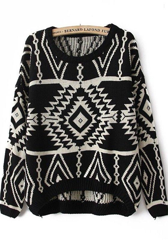 5d2bfaba58 Black Geometric Print Round Neck Wrap Wool Sweater