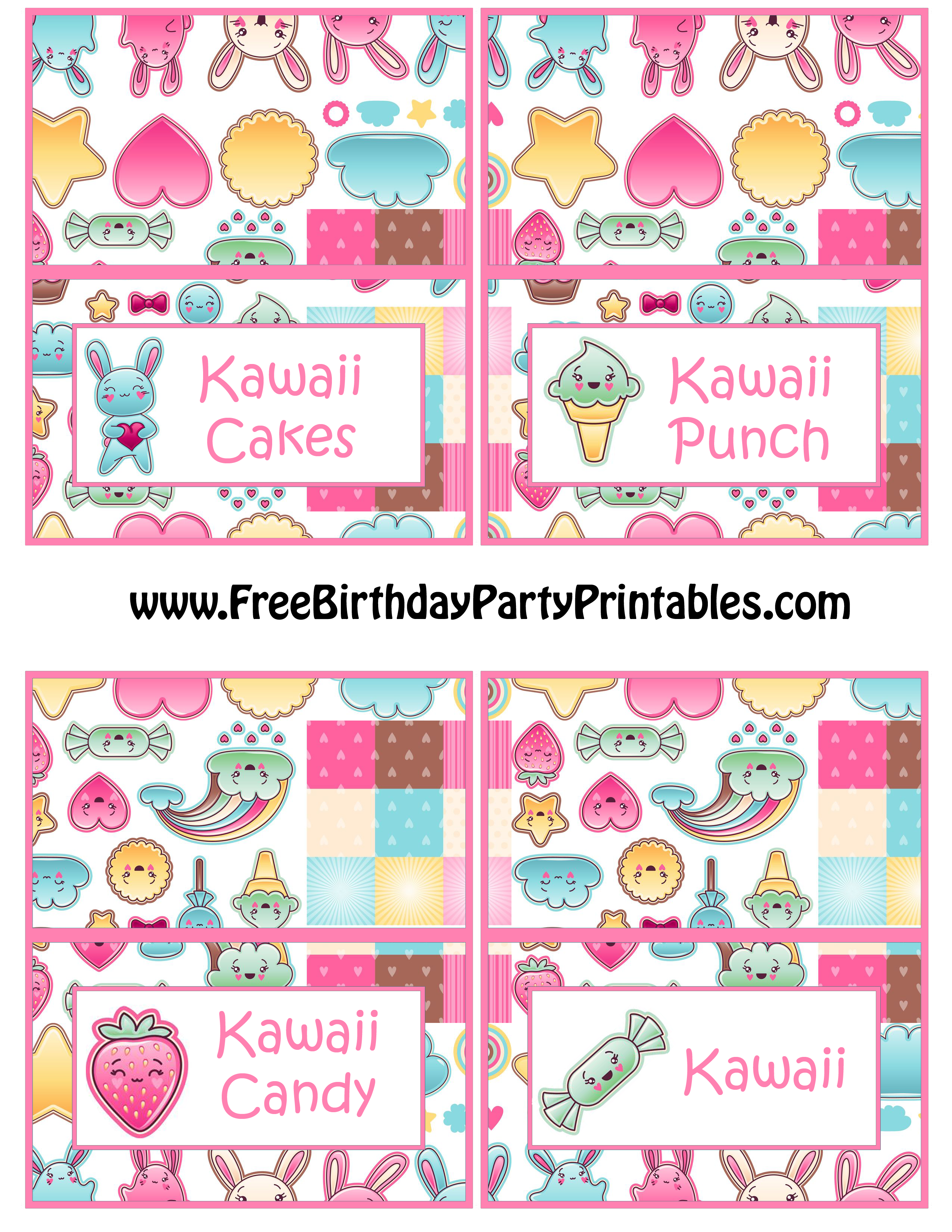 Kawaii Bunny Birthday Party Food Card Template By Free Birthday Party  Printables Kawaii Cakes Kawaii Punch  Free Birthday Cards Templates