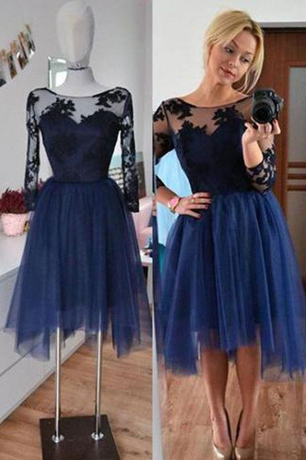dad12c6acd05 Navy Homecoming Dresses,3/4 Sleeves Short Prom Dresses,Simple Party Dresses ,SH42