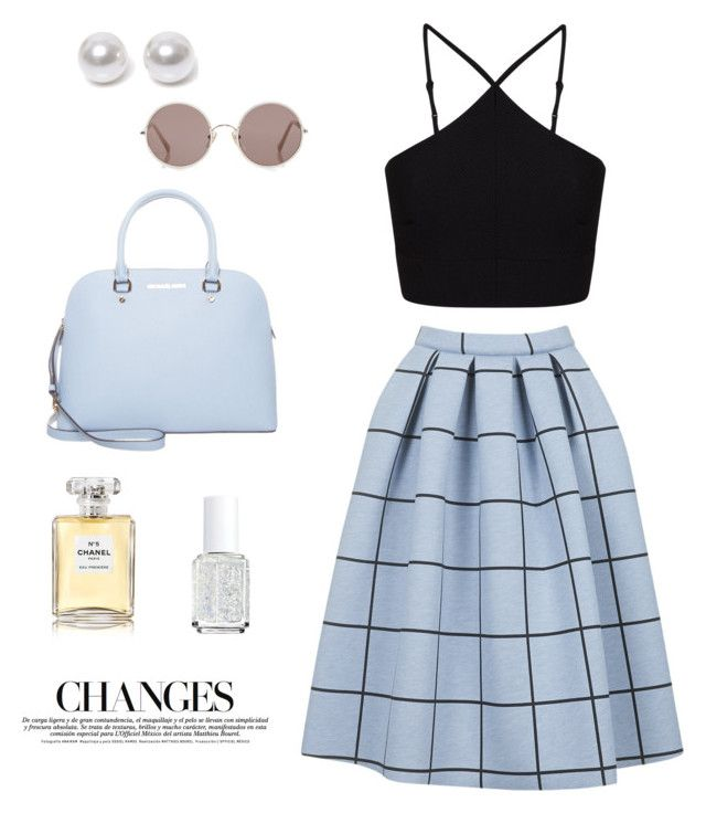 """""""Top shop skirt"""" by sabellajl ❤ liked on Polyvore featuring Topshop, Miss Selfridge, MICHAEL Michael Kors, Nouv-Elle, Sunday Somewhere, Chanel and Essie"""