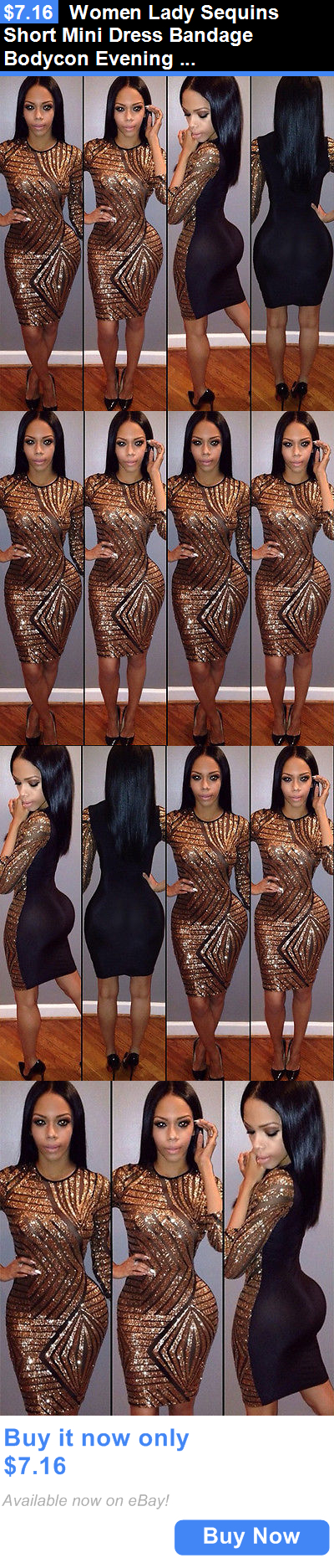 Clubwear: Women Lady Sequins Short Mini Dress Bandage Bodycon Evening Party Cocktail Club BUY IT NOW ONLY: $7.16