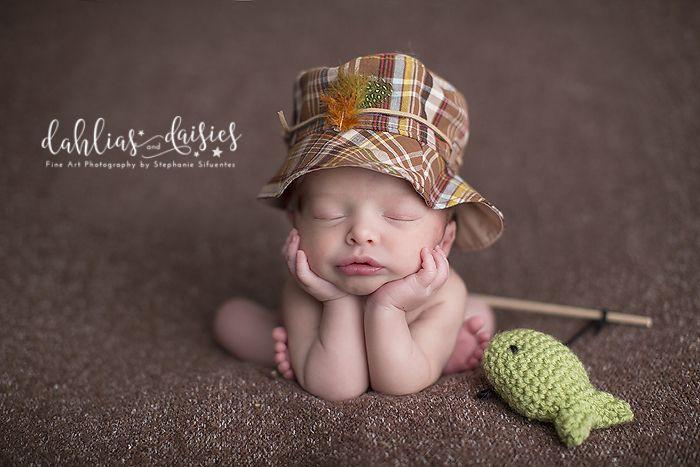 Plano newborn photographer newborn boy fishing fishing hat