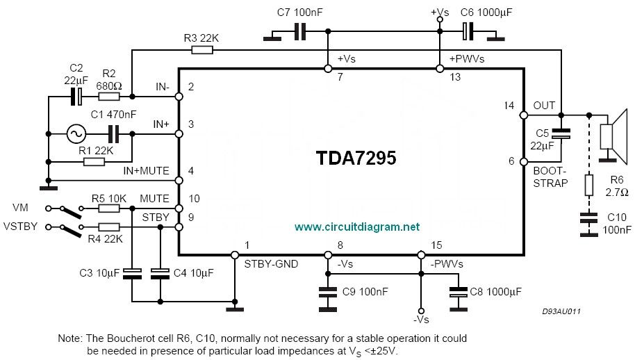 80W Audio Amplifier Using TDA7295 - Schematic Design | ham radio ...