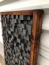 Schalldiffusor Akustikplatte Schalldämmung Proof Pixel Kunst Kunst aus grauem Holz 3   Handcrafted Quotes  decor diy wall art Altholz Schalldiffusor Akustikplatte Sc...