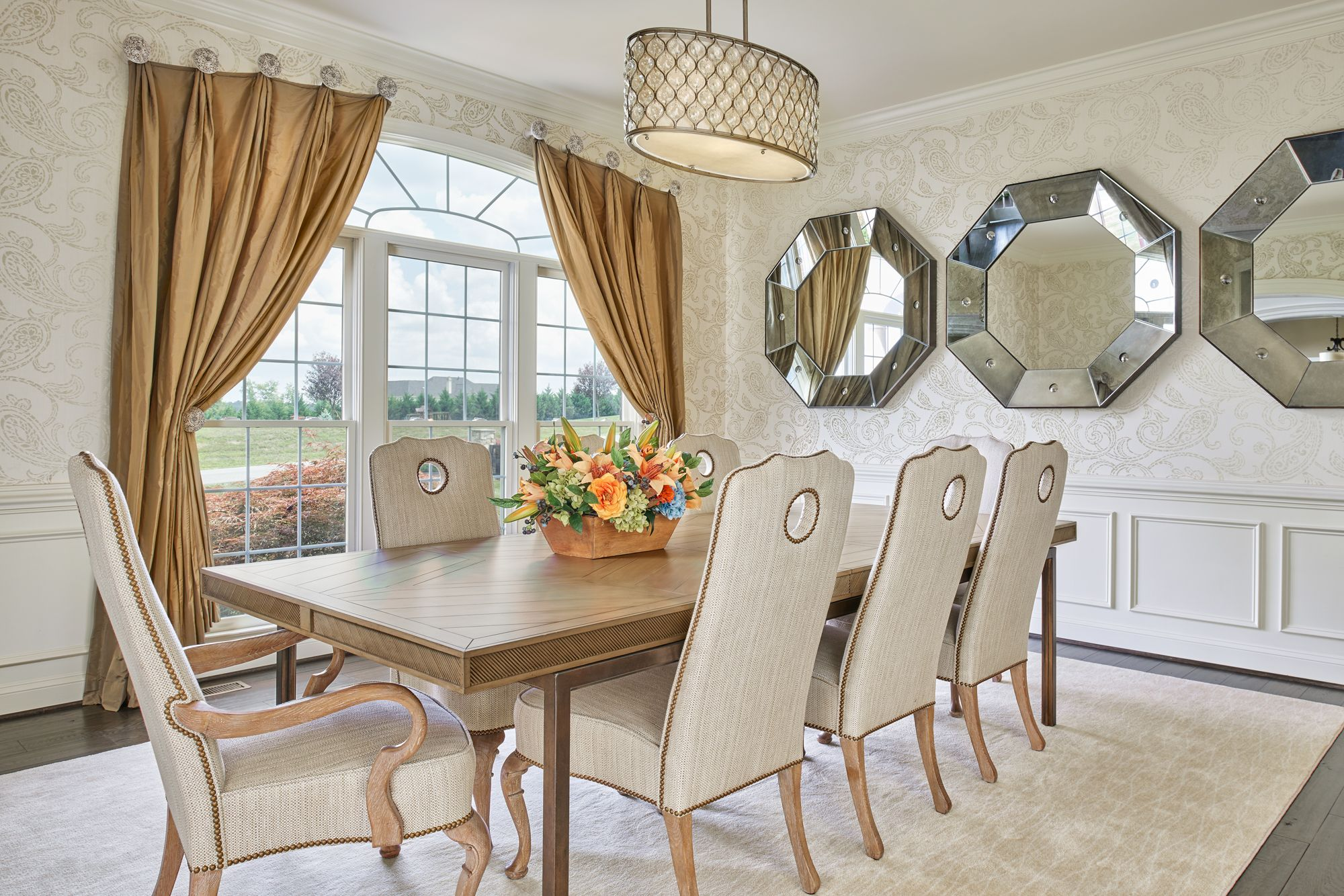 Gorgeous dining room table to seat eight  styled by Grace Thomas     Gorgeous dining room table to seat eight  styled by Grace Thomas Designs   interiordesign  wallpaper  drapery  paneling  wallmirror  octagon