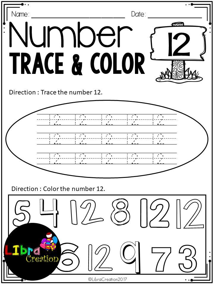 Number 0 20 Trace Color Number Writing Practice Number