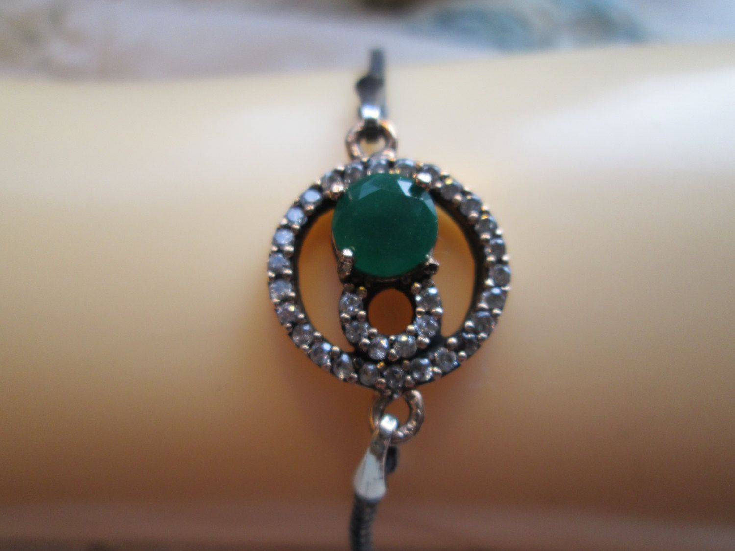 Vintage Sparkling Deco 1.64ctw Green Emerald & Icy White Sapphire Rose Gold/Sterling Silver Bracelet 8 Inches, Wt. 5.3 Grams by TamisVintageShop on Etsy