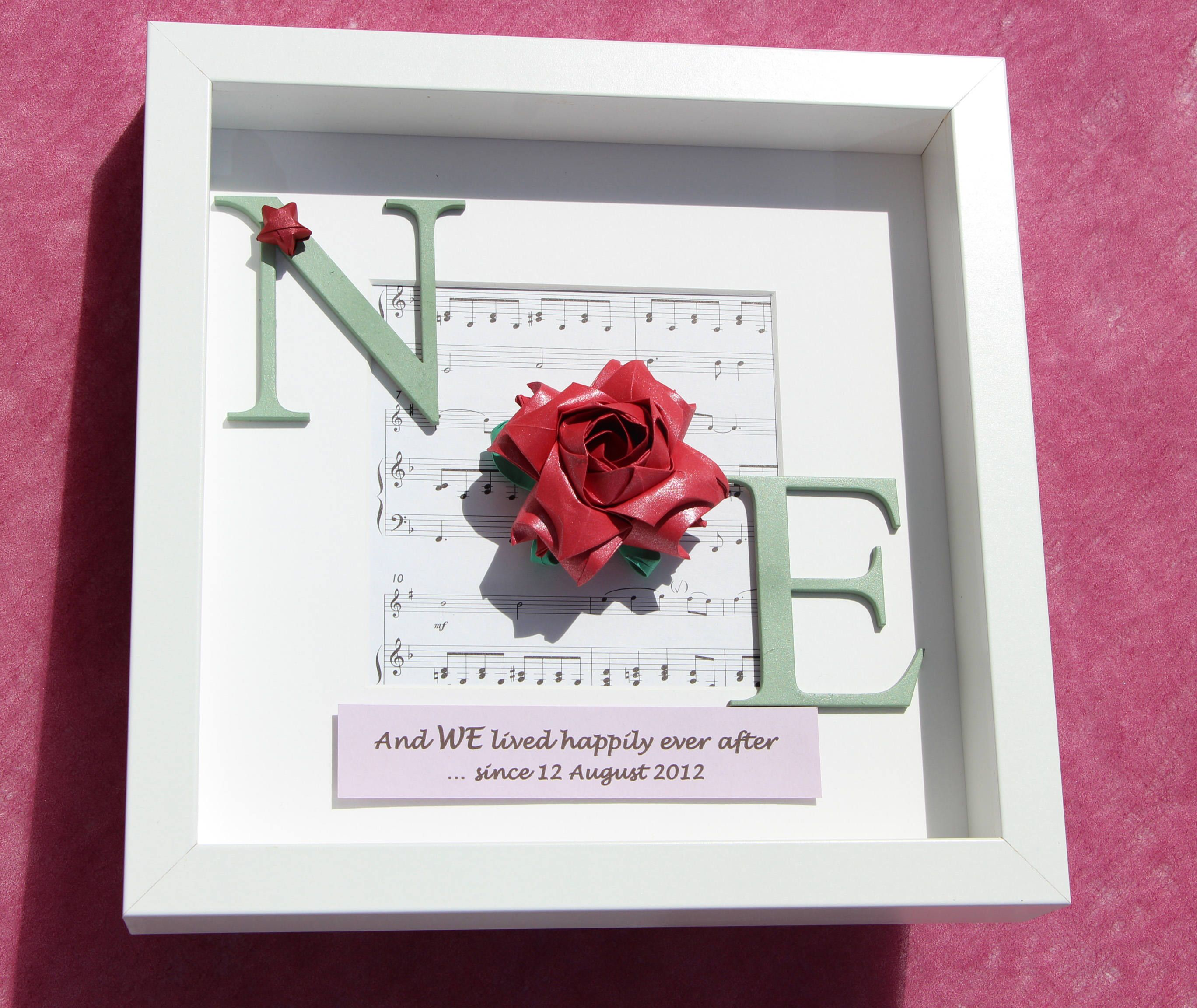 First 1st paper / 4th Flower Wedding Anniversary Gift Frame, Red ...