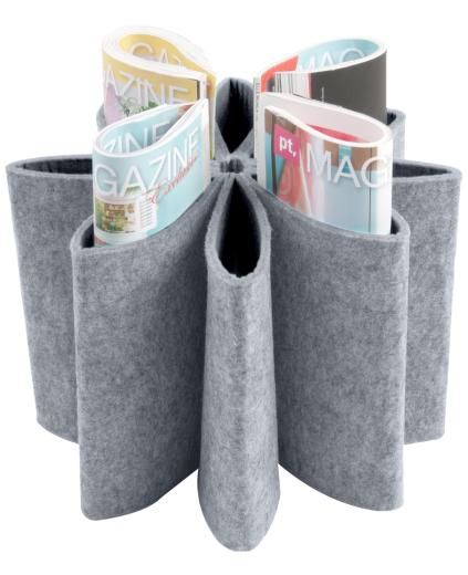 Grey Felt Daisy Magazine Holder - Storage & Reminders - £29.99 - The Contemporary Home Online Shop