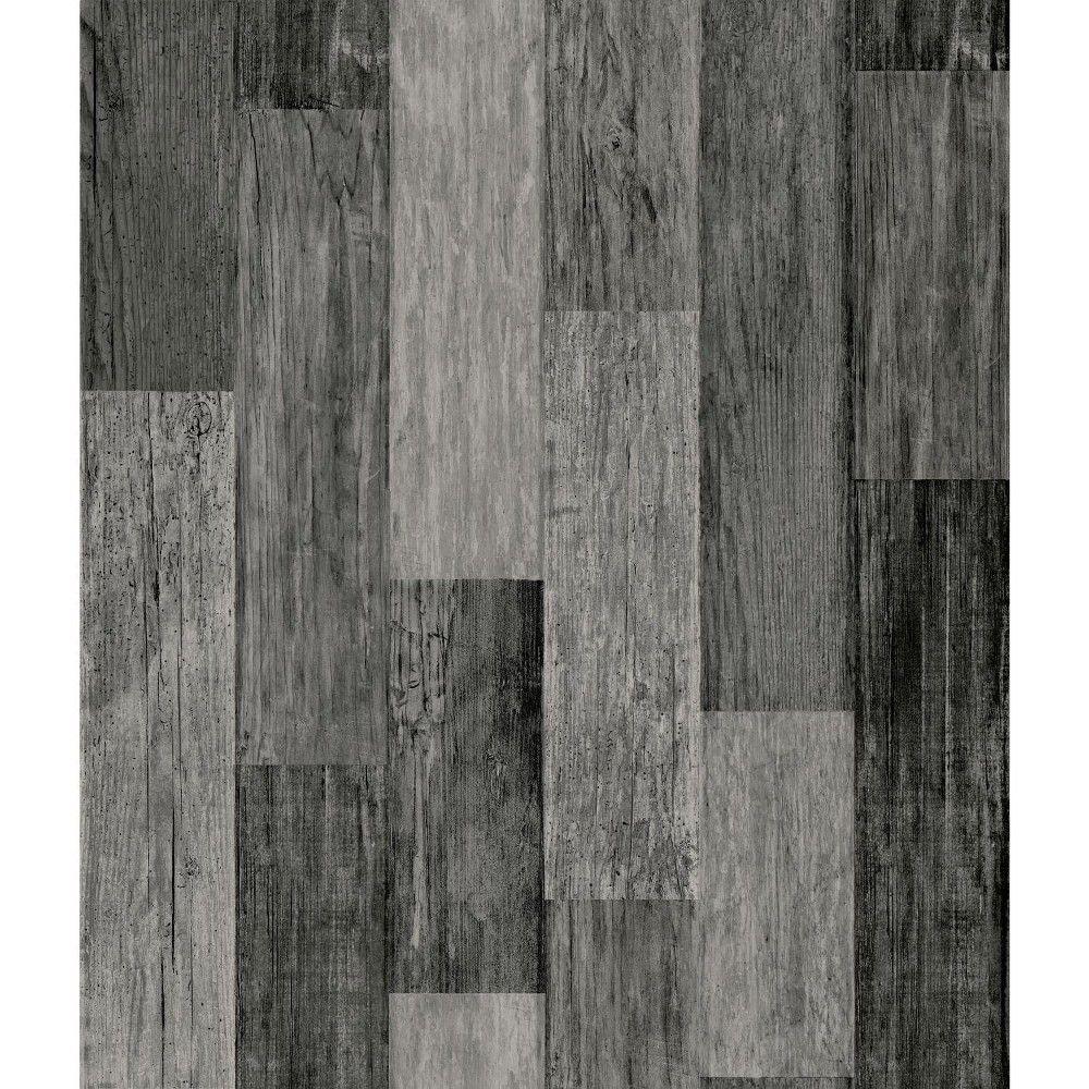 Roommates Weathered Wood Plank Peel Stick Wallpaper Black Weathered Wood Wood Vinyl Wood Planks
