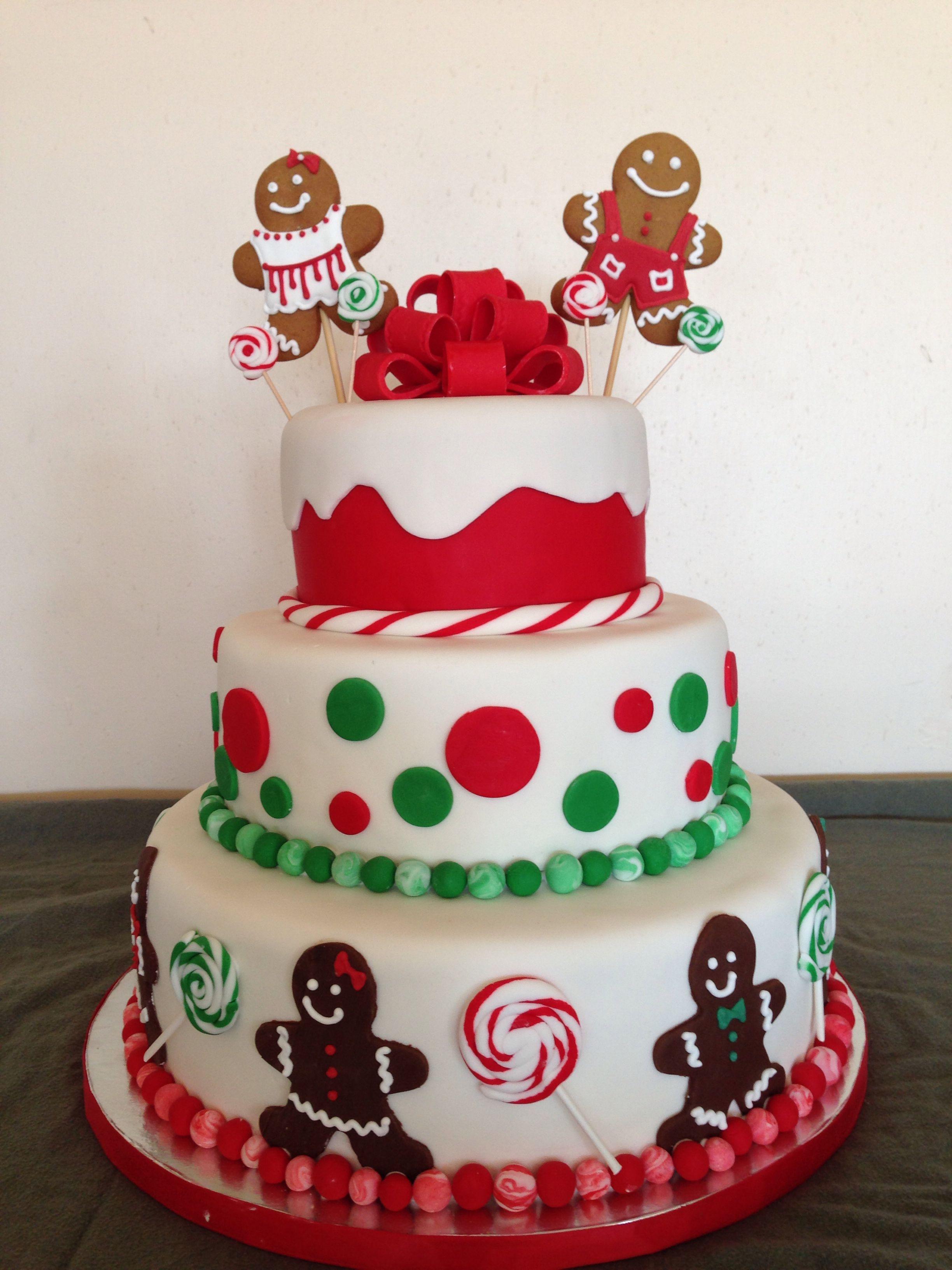 Fun, festive, Christmas birthday cake! Gingerbread