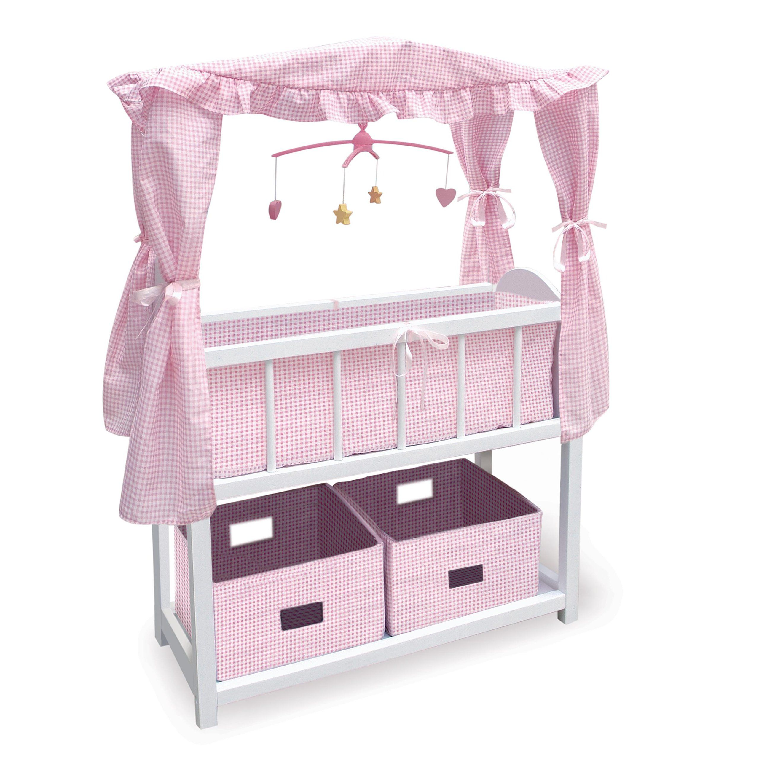 Badger Basket Canopy Doll Crib with Baskets, Bedding & Mobile (fits American Girl dolls)