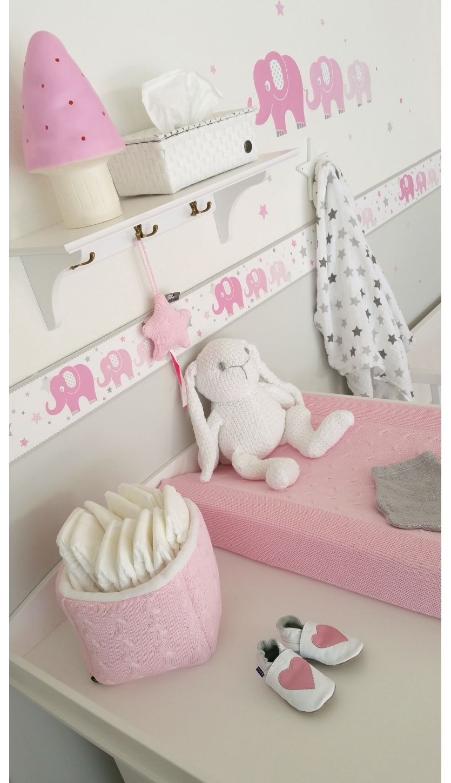 Kinderzimmer Bordüre Elefanten rosa/grau, selbstklebend ...