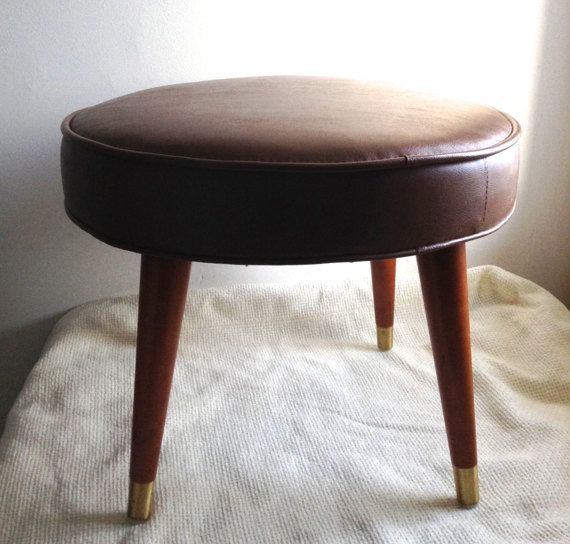 Vintage 1960 Ottoman Footstool.  Mocha Pleather.  Taper leg Ottoman. Mid century modern, Danish Modern, Eames era. Deco