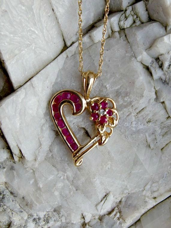 10k Gold Ruby And Diamond Heart Pendant With 20 Quot Fine Link 10k Chain Channel Set Rubies Ruby Flower With Diamond Center Accent Signed